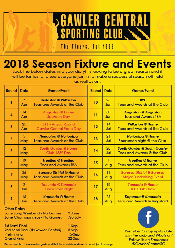 2018 Fixture and Events